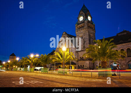 Metz train station at the evening blue hour. - Stock Photo