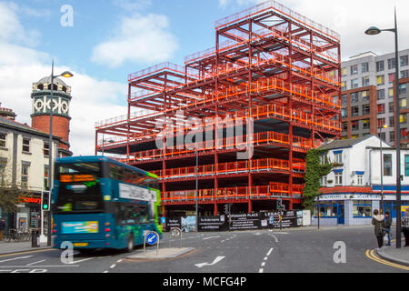 Construction site at ROPEMAKER PLACE apartments. A new build development occuping one of the best investment locations in Liverpool, standing at the cross roads of the city centre and the University Knowledge Quarter. Merseyside, UK - Stock Photo