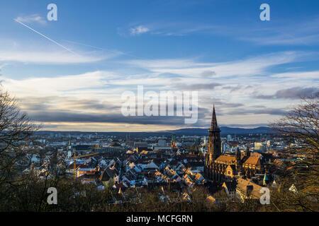 Germany, Warm evening sunlight on beautiful city freiburg im breisgau from above