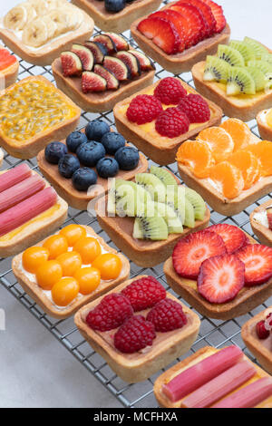 Colourful square fruit tarts on a wire cooling rack against a white background - Stock Photo