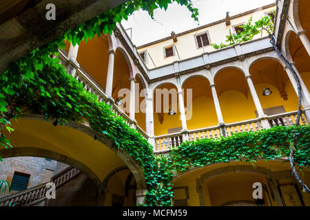 Palau del Lloctinent (Lieutenant's Palace) 16th century renaissance courtyard in the Gothic Quarter (Barri Gotic), Barcelona, Spain - Stock Photo
