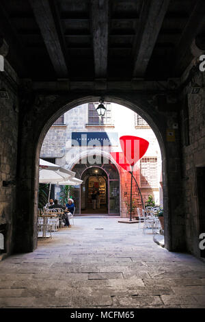 Entrance and courtyard of Fundacio Gaspar in the Gothic Quarter (Barri Gotic) in Barcelona, Spain - Stock Photo