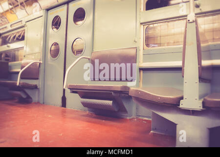interior of a new york city mta g train subway car stock photo 309787373 alamy. Black Bedroom Furniture Sets. Home Design Ideas