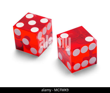 Red Casino Gambling Dice Isolated on White Background. - Stock Photo