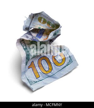 Crumpled Hundred Dollar Bill Isolated on a White Background. - Stock Photo