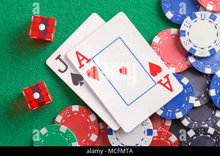 Black Jack Cards with Dice and Casino Chips. - Stock Photo