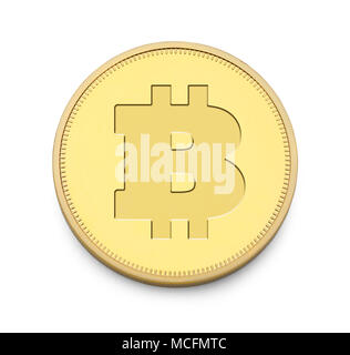 Single Gold Bitcoin Isolated on a White Background. - Stock Photo
