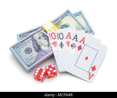 Stack of Money with Playing Cards and Dice Isolated on White Background. - Stock Photo
