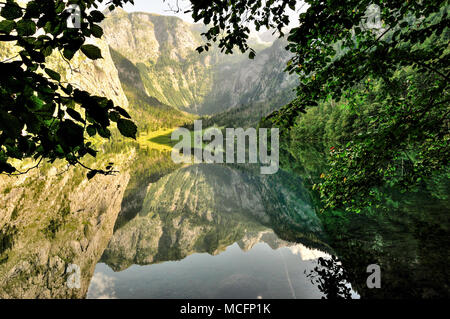 view over lake Obersee lake a mirror at Berchtesgaden national park near Koenigssee - Stock Photo