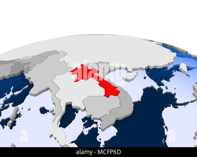 Myanmar highlighted in red on political globe with transparent oceans. 3D illustration. - Stock Photo