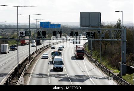 M6 motorway from the B4118 flyover, near Water Orton, Warwickshire, UK - Stock Photo