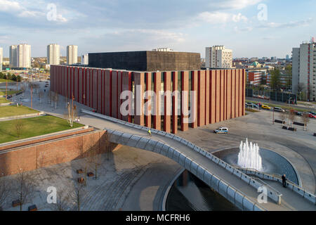 Katowice, Poland - April 12, 2018: Modern concert hall of the National Symphonic Orchestra of Polish Radio (NOSPR) in Katowice, Poland. Aerial view in - Stock Photo