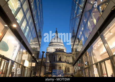 View of the dome of St Paul's Cathedral. Photographed at Blue Hour from One New Change, London UK - Stock Photo