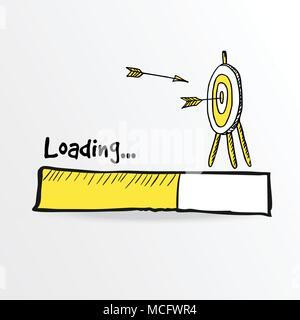 Loading bar. Hand drawn flying arrows hitt in doodle archery target, goal symbol. Success concept, vector illustration. - Stock Photo