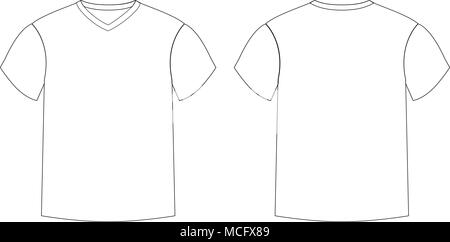 Outline Countur Silhouette Of Mens T Shirt Template V Neck Front And Back Side