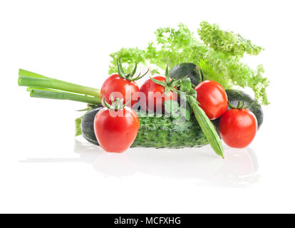 Different fresh vegetables isolated on white - Stock Photo