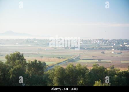 Hot Air Ballooning in the morning Mist, Mallorca, Spain - Stock Photo