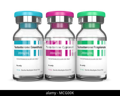 3d render of testosterone injection vials over white background - Stock Photo