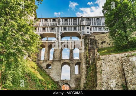 The cloak bridge is a multistoried bridge that spans the moat of the Castle, Cesky Krumlov, Bohemia, Jihocesky kraj, Czech Republic, Europe - Stock Photo
