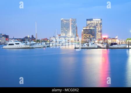 Marina at Inner Harbor in Baltimore at night, Maryland, USA - Stock Photo