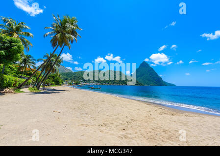 Paradise beach at Soufriere Bay with view to Piton at small town Soufriere in Saint Lucia, Tropical Caribbean Island. - Stock Photo