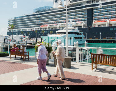 A cruise ship docked in the marina in Key West, Florida. - Stock Photo