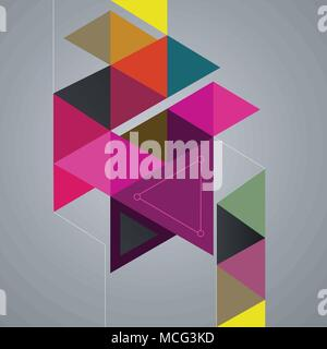 Abstract geometric background, colorful triangles, vector illustration - Stock Photo