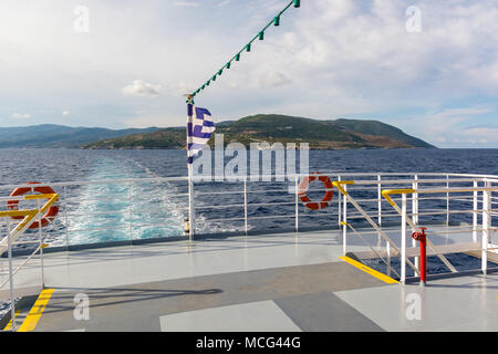 Open deck of a cruise ship in sunny summer day. Greece - Stock Photo