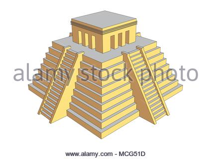 Pyramid illustration resembling mayan or aztec style. Mesoamerican religious building where human sacrifices was offered to gods - Stock Photo