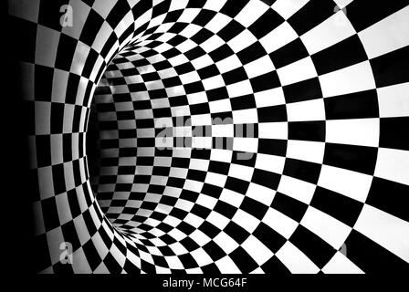Black and white tunnel with lights glow inside. - Stock Photo
