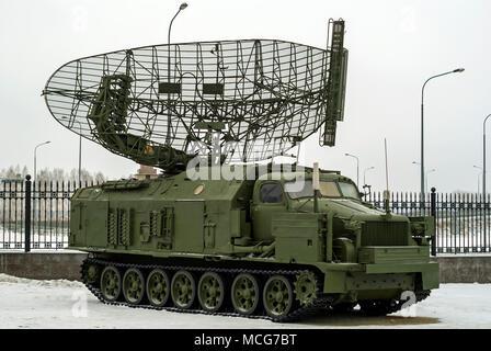 RUSSIA, VERKHNYAYA PYSHMA - FEBRUARY 12. 2018:  Soviet self-propelled radar station  P-40 'Armour' or 1S12 in museum of military equipment - Stock Photo