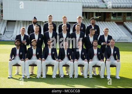 London, UK. 16th Apr, 2018. Surrey County Cricket Club squad photograph with club blazers on. Credit: David Rowe/Alamy Live News - Stock Photo