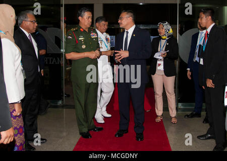 Kuala Lumpur, Malaysia. 16th Apr, 2018. Dato' Seri Hishammuddin Tun Hussien the minister of defence, Malaysia is seen arriving at Putrajaya Forum 2018 opening ceremony.More than hundreds of people has attended Putrajaya Forum 2018 on 16 April 2018 organised by The Malaysian Institute of Defence and Security (MIDAS), Ministry of Defence Malaysia were held alongside the 16th Defence Service Asia (DSA) and the opening ceremony were inaugurated by YAB DatoÃ- Sri Mohd Najib Razak the Malaysia prime minister. Credit: Faris Hadziq/SOPA Images/ZUMA Wire/Alamy Live News - Stock Photo