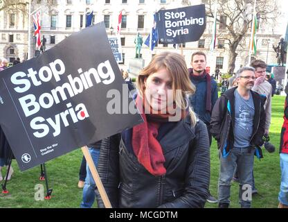 """London, UK. 16th Apr, 2018. A crowd of Londoners turn out for the Stop the War Coalition's """"Stop Bombing Syria"""" demonstration opposite the Houses of Parliament. © Brian Minkoff/Alamy Live News. - Stock Photo"""
