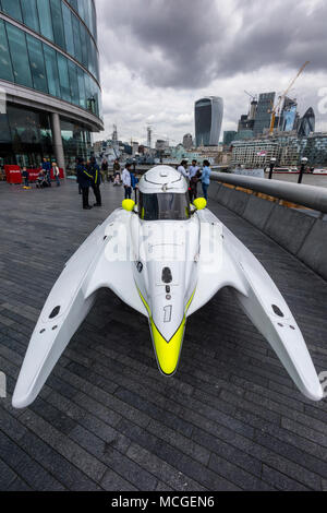 London Bridge, UK. 16th Apr, 2018. The UIM F1H2O launch celebration team China powerboat on display at London bridge city in advance of the powerboat grand prix racing to be held at London Royal docks in June 2018 as part of the world chamionship grand prix series. Credit: Steve Hawkins Photography/Alamy Live News - Stock Photo