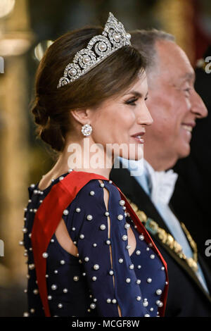 Madrid, Spain. 17th Apr, 2018. King Felipe VI of Spain, Queen Letizia of Spain attend a Gala dinner with Marcelo Rebelo de Sousa President of Portugal during his 3 days State Visit at Royal Palace on April 16, 2018 in Madrid, Spain. Credit: Jimmy Olsen/Media Punch ***No Spain ***/Alamy Live News - Stock Photo