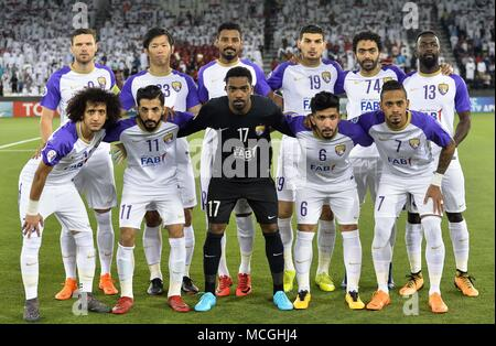 Doha, Qatar. 16th Apr, 2018. Al Ain FC players pose for a team photo prior to the AFC Champions League Group D soccer match between Qatar's Al Rayyan SC and UAE's Al Ain FC at Jassim Bin Hamad Stadium in Doha, Qatar, April 16, 2018. Al Ain FC won 4-1. Credit: Nikku/Xinhua/Alamy Live News - Stock Photo