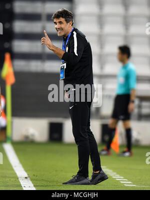 Doha, Qatar. 16th Apr, 2018. AL Ain head coach Zoran Mamic gestures during the AFC Champions League Group D soccer match between Qatar's Al Rayyan SC and UAE's Al Ain FC at Jassim Bin Hamad Stadium in Doha, Qatar, April 16, 2018. Al Ain FC won 4-1. Credit: Nikku/Xinhua/Alamy Live News - Stock Photo