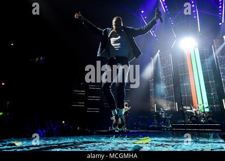 Prague, Czech Republic. 16th Apr, 2018. Singer Dan Reynolds of U.S. rock band Imagine Dragons performs in O2 arena in Prague, Czech Republic, April 16, 2018. Credit: Vit Simanek/CTK Photo/Alamy Live News - Stock Photo