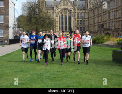 London,UK,17th April 2018,London Marathon Photocall with 11 Members of Parliament took place ahead of the Marathon on Sunday. This is a new record of MPs taking part since the event started in 1981.Credit Keith Larby/Alamy Live News - Stock Photo