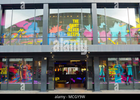 FC Botiga megastore, fan store of FC Barcelona, Camp Nou, Barcelona, Catalonia, Spain - Stock Photo