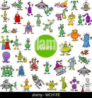 Cartoon Illustration of Aliens Fantasy Characters Huge Set - Stock Photo