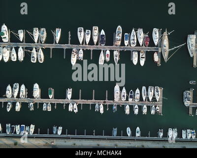 Harbour with sailing boats (Portugal, Estoril) - Stock Photo