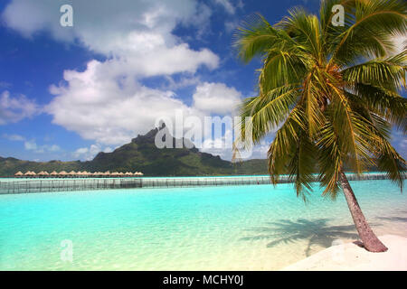 Beautiful tropical beach with Mount Otemanu in the background, Bora Bora, French Polynesia. - Stock Photo