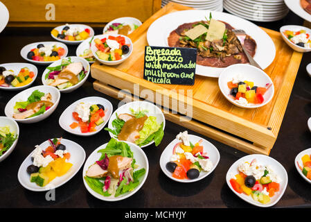 salads with vegetables and carpaccio with mushrooms and arugula with nuts - Stock Photo