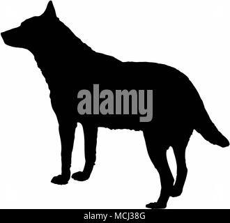 dog wolf black silhouette isolate on white background vector illustration. - Stock Photo