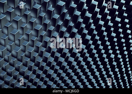 Cubes array in repeating pattern, abstract 3d rendering illustration of boxes as background - Stock Photo