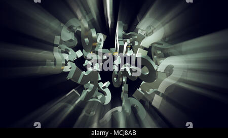 3d rendering illustration of exploding question mark particles as concept of perplexion and confusion, looking for answers - Stock Photo
