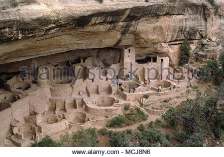 USA. Colorado. Mesa Verde National Park. Ancestral Puebloan cliff dwellings. - Stock Photo