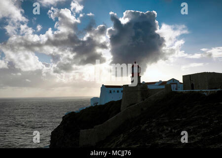 Lighthouse, Cape Saint Vincent, Cabo de Sao Vicente, Sagres, Algarve, Portugal - Stock Photo